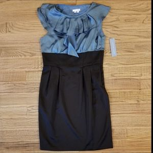 London Times Satin Ruffle Sheath Dress